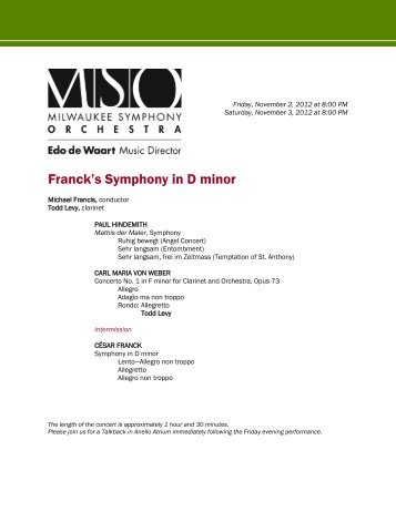 Franck's Symphony in D minor - Milwaukee Symphony Orchestra