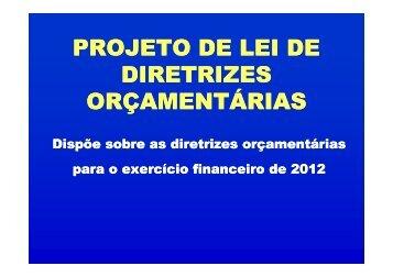 PROJETO DE LEI DE DIRETRIZES ORÇAMENTÁRIAS - seplan