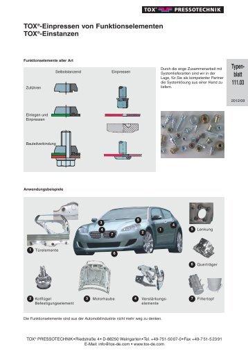 TOX®-Einpressen von Funktionselementen TOX®-Einstanzen ...
