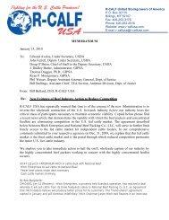 R-CALF USA's Memo to GIPSA, DOJ and USDA regarding the loss ...