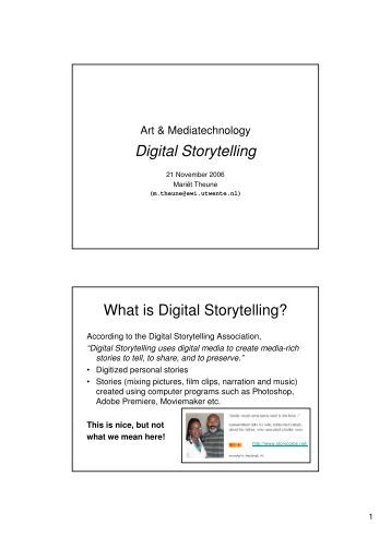 Digital storytelling assignment