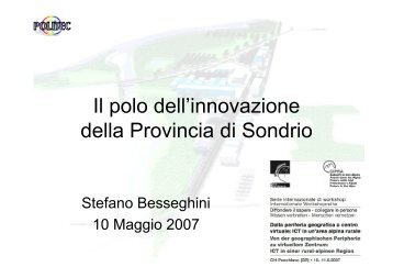 Il polo dell'innovazione della Provincia di Sondrio