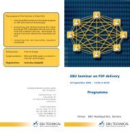 EBU Seminar on P2P delivery Programme - EBU Technical