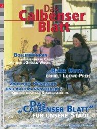 """DAS """"CALBENSER BLATT"""""""