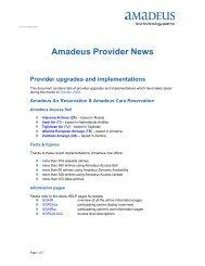 Amadeus Provider News