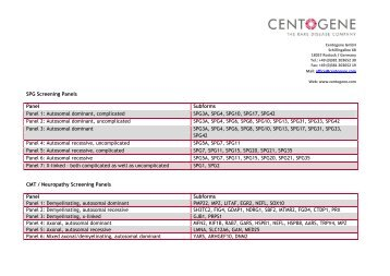 SPG Screening Panels Panel Subforms Panel 1 ... - CENTOGENE