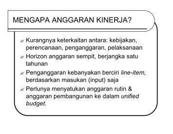 Penyusunan Anggaran Kinerja di Pusat - Kumoro.staff.ugm.ac.id