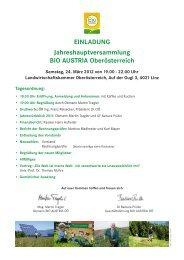 EINLADUNG Jahreshauptversammlung BIO AUSTRIA Ober