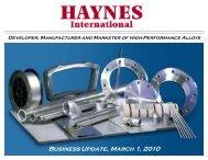 Business Update, March 1, 2010 - Haynes International, Inc.