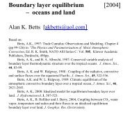 Boundary layer equilibrium - oceans and land