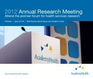 2012 Annual Research Meeting - AcademyHealth
