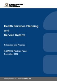 Principles of Planning and Reform - WA Country Health Service