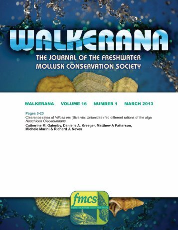 walkerana volume 16 number 1 march 2013 - FMCS-Freshwater ...
