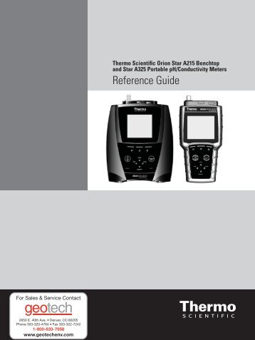 Thermo Scientific Orion Star A325 Reference Guide - Geotech ...
