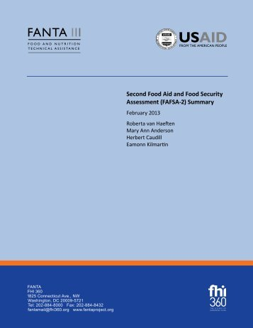 Second Food Aid and Food Security Assessment (FAFSA-2) Summary