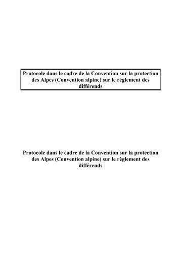 Protocole dans le cadre de la Convention sur la protection des ...