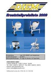 DIEM Preisliste 2009 - Ersatzteile komplett - NICHT AKTUALISIEREN