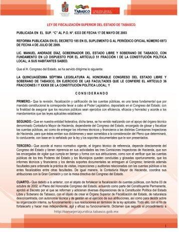 Ley de Fiscalización del Estado de Tabasco - Universidad Juárez ...