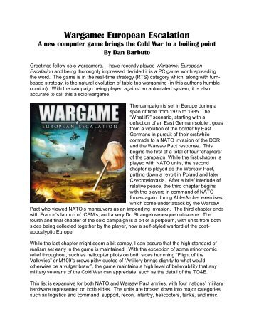 Wargame: European Escalation - Lone Warrior Blog