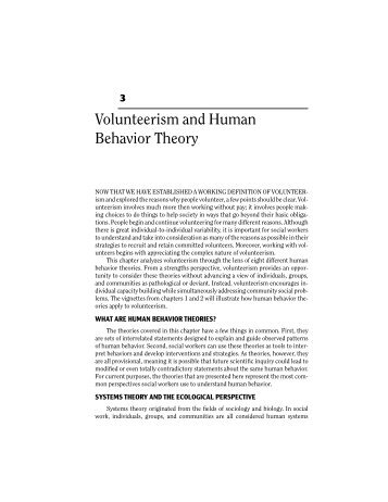 Volunteerism and Human Behavior Theory - Lyceum Books