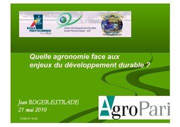 Quelle agronomie face aux enjeux du développement durable ? (pdf ...