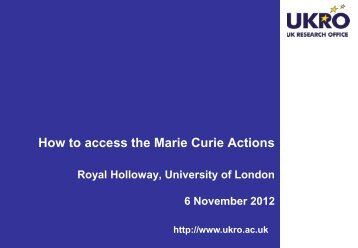 Marie Curie Actions - Royal Holloway, University of London