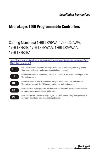 micrologix 1400 programmable controllers