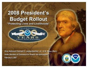 VADM Lautenbacher's Presentation of the FY 2008 NOAA Budget