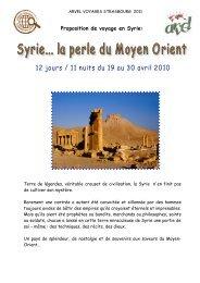 Proposition de voyage en Syrie: - APHG Alsace