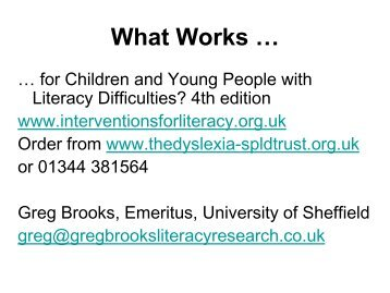 What works for pupils with literacy difficulties? (update ... - Catch Up