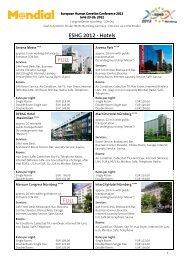 ESHG 2012 - Hotels FULL FULL