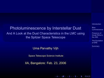 Photoluminescence by Interstellar Dust - Indian Institute of ...