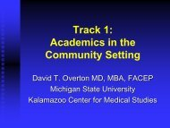 Track 1: Academics in the Community Setting