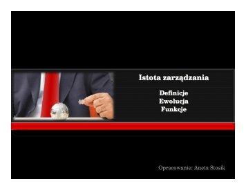 istota_zarzadzania - Akademia Wychowania Fizycznego we ...