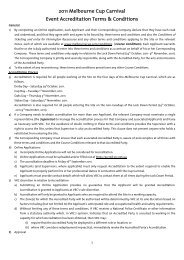 2011 Melbourne Cup Carnival Event Accreditation Terms & Conditions