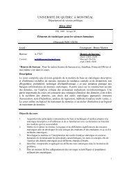 UNIVERSITÉ DU QUÉBEC À MONTRÉAL - Département de science ...