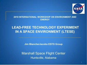 LEAD-FREE TECHNOLOGY EXPERIMENT IN A SPACE ...