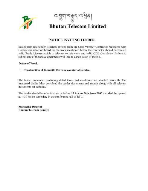 Bhutan Telecom Limited - Bhutan Telecom Ltd…
