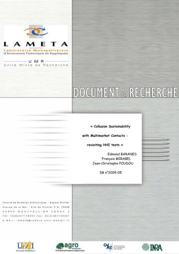 Â« Collusion Sustainability with Multimarket Contacts ... - Lameta