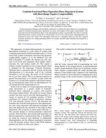 Coulomb-Frustrated Phase Separation Phase Diagram in Systems ...