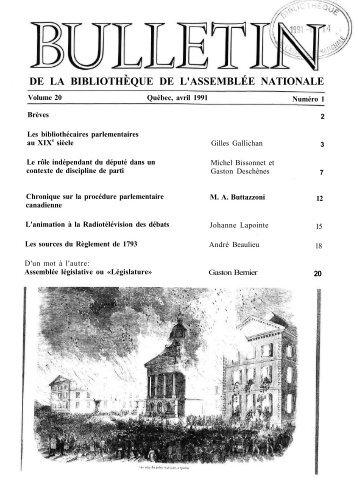 Vol. 20, no 1, avril - Bibliothèque - Assemblée nationale du Québec