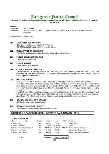 Minutes of the meeting held on 17th March 2010 - bridgerule