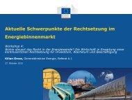 Aktuelle Schwerpunkte der EU-Rechtssetzung im Energiebinnenmarkt