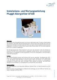 BIA- Betriebs und Installationsanleitung AF400 - Pluggit