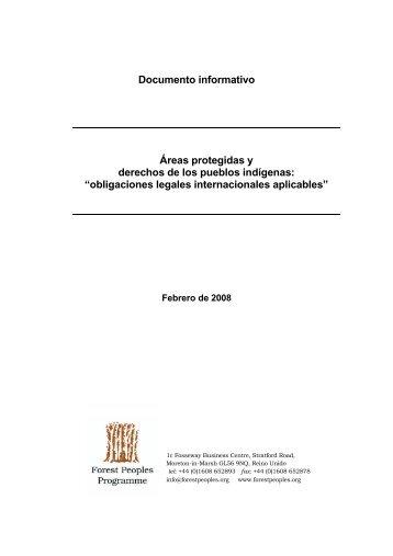 Documento informativo Áreas protegidas y derechos de los pueblos ...