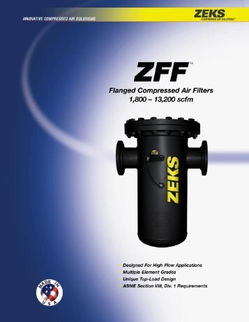 ZEKS ZFF In-Line Filters 1800 to 13200 CFM - Compressed Air