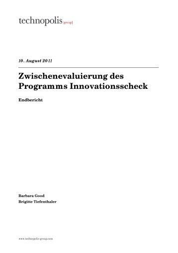 Zwischenevaluierung des Programms Innovationsscheck