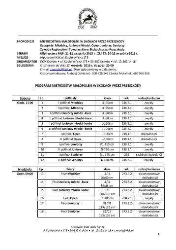 Propozycje MM ZR ZT B KKJK 20-22.09.2013 - Małopolski Związek ...