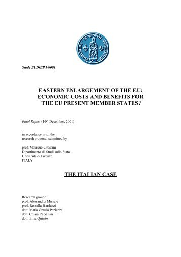 economic costs and benefits for the eu present member states?