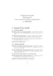 Programma di esame Matematica II Corso di Laurea in Ottica e ...